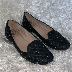 Vince Camuto quilted black studded loafers flats